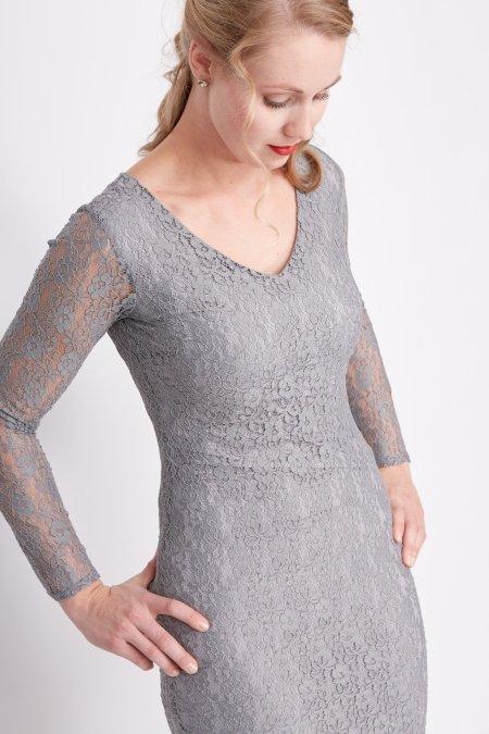 grijze kanten jurk