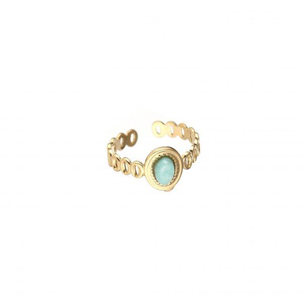 goudkleurige-nikkelvrije-ring-met-ovalen-mintgroen-steentje